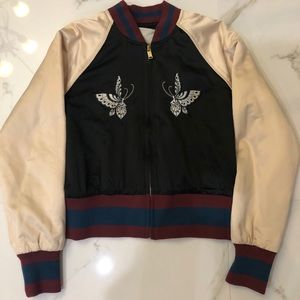 Wilfred Free Black Bomber Jacket + Cream Sleeves